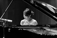 180927 Azumi Nishizawa @ Suntory Hall Blue Rose-04-B&W.jpg (Bruce Batten) Tags: bw friendsacquaintances honshu japan locations musicalinstruments occasions people performances photographicstylesandtechniques reflections subjects tokyo