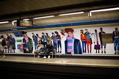 Crowded Platform (Five Second Rule) Tags: madrid spain 2018 city urban travel benetton advert subway train rail underground people public