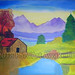 """Farm House"" by Khwala Z, acrylic, $70.00"