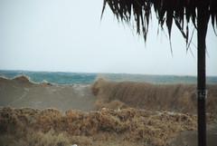 Muddy sea (jimiliop) Tags: sea waves blue brown storm weather medicane cyclone beach kiato zorbas umbrella