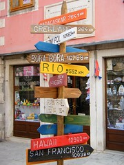 Sibenik, Croatia (rossendale2016) Tags: lettering letters signature painted paint ink ones written destination holiday industry tourist clever distance distances massive land sea air by miles mileage green pink yellow blue red iconic icon wooden colourful colorful colours colour indicator direction signpost sign borabora bora rio sanfrancisco francisco san greenland hawaii croatia sibenik