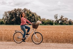 Active adult basket - Credit to https://homegets.com/ (davidstewartgets) Tags: active adult basket bicycle bike biker countryside cropland dirt road farm farmland fashion female field flowers freedom fun girl happiness happy leisure lifestyle outdoors riding rural smile smiling stripes wear wheels woman