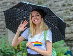 Umbrella Pride - Ottawa Pride 2018 (Dan Dewan) Tags: 2018 canonef70200mmf14lisusm portrait bankstreet street people person lady colour hat pride ottawa sunday girl woman august ontario canada summer dandewan ottawapride canon