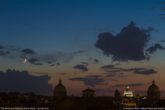 The Moon, Mercury and Rome, at sunset (Up and Down the Horizon) Tags: moon luna mercury mercurio roma rome italia italy tramonto sunset clouds nuvole cielo sky landescape panorama dome cupola sanpietro stpeter