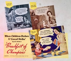 Johnnie Declares a Cereal Strike (saltycotton) Tags: cereal wheaties breakfast family housewife mother children son radio betterhomesgardens vintage magazine advertisement ad 1937 1930s