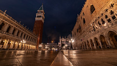 San Marco Square, Venice (Sworldguy) Tags: a73 camera country italy sonya73 venice stmarkssquare piazza venezia campanile europe cityscape summer landmark mediterranean basilica cathedral church lamps attraction travelphotography lights history palace nightscene architecture wideangle samyang