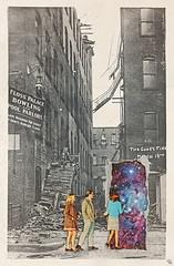 htets (woodcum) Tags: people door hole portal space cosmic cosmos stars nebula building retro vintage collage surreal torn paper escape