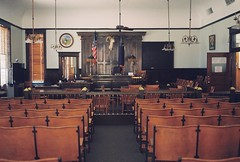 Esmeralda County Courtroom (poavsek) Tags: medalist film nevada goldfield desert bighornsheep courthouse taxidermy vintage kodak ektar flags circa1907 ghost