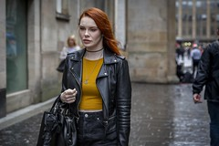 Redhead (Leanne Boulton) Tags: portrait urban street candid portraiture streetphotography candidstreetphotography candidportrait streetportrait streetlife woman female girl pretty face eyes expression mood feeling atmosphere emotion ginger redhead beauty beautiful hair style fashion yellow black leather stylish tone texture detail depthoffield bokeh wet weather rain raining naturallight outdoor light shade city scene human life living humanity society culture lifestyle canon canon5dmkiii ef2470mmf28liiusm color colour glasgow scotland uk