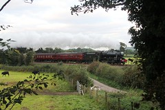 WCR 1Z73 'The Lune Rivers Trust' with LMS 8F 48151 passing Capernwray Lancashire on 29th September 2018 on route to Scarborough. (steamdriver12) Tags: wcr west coast railways 1z73 the lune rivers trust stanier lms 8f 48151 capernwray lancashire autumn 29th september 2018 smoke steam coal oil heritage mainline preservation england countryside trees