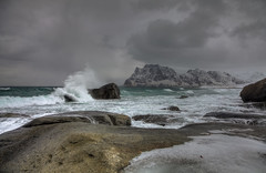Rough Weather (Joost10000) Tags: sea ocean atlantic weather storm lofoten islands arctic norway noorwegen norwegen water sky wave bay rock mountain beach haukland landscape landschaft seascape travel wild wilderness snow ice winter cold canon canon5d eos outdoors europe clouds cloud green lapland