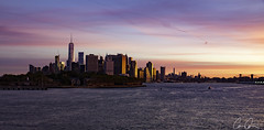 NYC Sunrise ([CamCam]) Tags: tower trade river hudson colourfulsea colour orange statten state empire purple sunrise rise sun skyline manhattan america usa nyc city york be newyorkcity