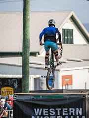 Shipping container ramp wheelie (Man+machine) Tags: mountainbikes southernmtb pushbikes albany amazingalbany