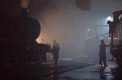 The night shift at Barrowhill Roundhouse. 07 11 2018. Timeline Eevents (pnb511) Tags: barrowhillroundhouse train track loco workshop maintenance depot heritage railway steam industrial britain engine locomotive dirt grime wet reflection dark night timelineevents