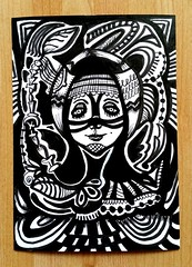 Inktober Day 8 (Lindsaywhimsy) Tags: inktober2018 pen ink illustration pattern doodle face