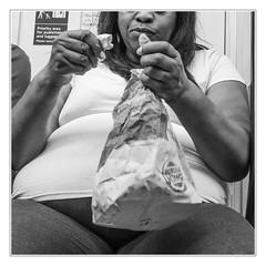 Burger Queen (sdc_foto) Tags: sdcfoto street streetphotography bw blackandwhite woman eating burger subway people pentax k1 london tube