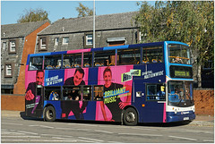 Standing out..... (Jason 87030) Tags: dj hits radio nationwide music songs station pink purple dennis trident alx400 doubledecker wraps vinyl all advert covered comedy dave bus wheels kingsthorpe road shot shoot load great cool hip stand out bright sunny october 2018 ilce nex alpha a6000 lens tag side color colour latest news banter chat bitch talk show entertainment vehicle publictransport man woman presenters attention grabbing gang wallop bang buses tree flats image fave album midlands stagecoach px04dpu
