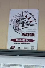 'Train Watch' sign, Shorncliffe Station (philip.mallis) Tags: brisbane shorncliffe shornclifferailwaystation trainstation railwaystation sign queenslandrail
