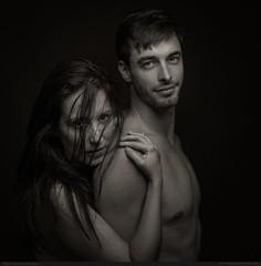 Jenny & Ben (bcud14) Tags: woman man couple nude blackandwhite monochrome dark lowkey bnw square portrait standing