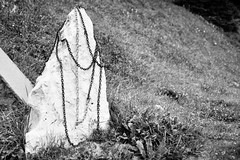 Grabstein des B.A. Baracus (chipsmitmayo) Tags: minolta xd7 rokkor 50mm f14 adox silvermax 100 adotech film analog schwarzweiss blackandwhite labor kleinbild südtirol stein fels kette chain wiese ateam tombstone