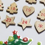 Close up of wooden Advent calendar with red numbers thumbnail