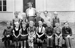 Class photo (theirhistory) Tags: boy child kid girl teacher school class form group pupils students jacket jumper trousers shoes wellies wellingtons dress skirt