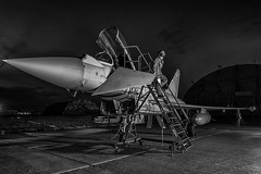Mission Complete (Lee532) Tags: long exposure night royal air force typhoon eurofighter fighter plane jet fast military aviation aircraft coningsby nikon d610 tamron airplane sky cockpit people photo pilots pilot blackandwhite mono monochrome bw