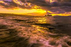 sunset 1610 (junjiaoyama) Tags: japan sunset sky light cloud weather landscape yellow orange contrast color lake island water nature autumn fall wave sun reflection sunrays beams