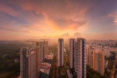 Skyville Golden Dawn (Scintt) Tags: singapore contrast directional golden orange warm yellow architecture building structure lines facade dramatic surreal design construction modernist light glow sun wideangle nikon panorama stitched residential estate apartments flats homes housing living space urban exploration modern scintillation scintt jonchiangphotography windows walls concrete corridor texture enclosed public real hdb garden rooftop vantagepoint skyscraper tall sky clouds green blue city cityscape dusk evening rays longexposure slowshutter haida neutraldensity sunrise queenstown skyville skyline crane morning dawn mist fog early