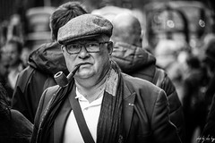 Let Me Smoke My Pipe In Peace (Cycling-Road-Hog) Tags: blackwhite candid canoneos750d cap citylife colour efs55250mmf456isstm edinburgh fashion man monochrome people places royalmile scarf scotland street streetphotography streetportrait style urban