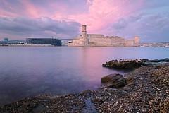 Pink Sunset on Saint-Jean (alex notag) Tags: marseille sunset seascape mucem longexposure poselongue vieux port fort saint jean