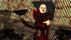 Freakshow (tralala.loordes) Tags: drd deathrowdesigns drdblogging drdguttedcorset uber secondlife sl virtualreality vr avatar dcwatchingcrows corset redcorset freak circus freakshow moon amore mad clown performer crow trick guts halloween belly slmeshcreations costume