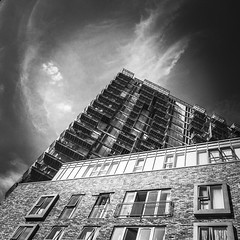 IMG_1183 (Kathi Huidobro) Tags: sky texture angular point londonbuildings balconies london blackwhite bw monochrome contemporaryarchitecture facade architecture
