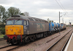 DRS . 57002 . Ely Up Goods Loop , Cambridgeshire . Monday 08th-October-2018 . (AndrewHA's) Tags: cambridgeshire ely railway station drs class 57 diesel locomotive loco 57002 direct rail services railhead treatment train 3s01 stowmarket brush type 4 loughborough