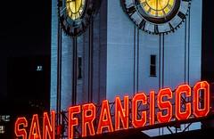 san francisco (pbo31) Tags: sanfrancisco california nikon d810 color night dark black city october 2018 boury pbo31 neon sign ferrybuilding clock tower embarcadero financialdistrict urban red