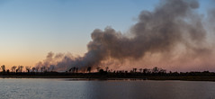 Crex Fire_48721-Pano-.jpg (Mully410 * Images) Tags: burnettcounty trees dike2 smoke crexmeadows crexmeadowsstatewildlifearea panorama silhouette lake fire sunset wisconsin