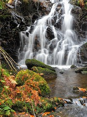 Autumn Waterfall. (Flyingpast) Tags: autumn autumnal nature wet rocks cascade fall outdoors highlandperthshire scotland scottish pretty beautiful uk waterfall water moss