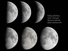 Six Days of the Moon (tbird0322) Tags: astronomy astrophotography moon luna lunar solarsystem canon mewlon
