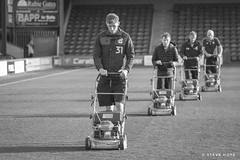 Groundstaff at Scunthorpe United (SteveH1972) Tags: canon7d 7d canon canon70200 70200 man men person people 2018 groundstaff mower bw lawnmower blackandwhite monochrome glanfordpark northlincolnshire grass lincolnshire england uk britain football stadium grasscutting staff outside outdoor outdoors northernengland