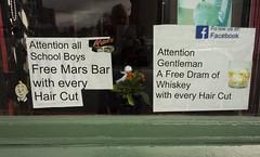 Scottish Diet - Barber's Window (Brian Toner) Tags: scotland diet marsbar whisky haircut schoolboys gentlemen scottishdiet healthyeating shopwindow barber