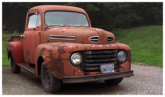 1950 Ford Pickup (daveelmore) Tags: 1950 ford pickup truck vehicle antique vintage red stitchedpanorama panorama manualfocus legacylens penfm43adapter hzuiko42mm112
