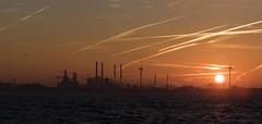 Industrial Dawn (Stapleton Road) Tags: ijmuiden holland sea sunrise industry seaport airplane jet vapourtrails
