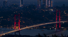 Blue (NazliAktuglu) Tags: istanbul nightphotography bridge blue red bosphorus canon80d nazliaktuglu