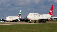 The biggest 2 at Manchester (ianclarke82) Tags: virginatlantic emirates 747400 a380 boeing747 airbusa380 airbus boeing aviation avgeek aviationphotography canonuk canonaviation canonphotography canon80d airliners jetphotos jetaircraft jetengine taxiway runway manchesterairport southside