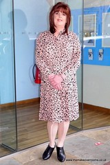 My new favourite dress (janegeetgirl2) Tags: transvestite crossdresser crossdressing tgirl tv ts heels nylons glamour ankle boots summer shirt dress jane gee outside promenade brighton leopard biker jacket black