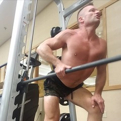 back rows (ddman_70) Tags: shirtless pecs abs muscle gym workout shortshorts backrows