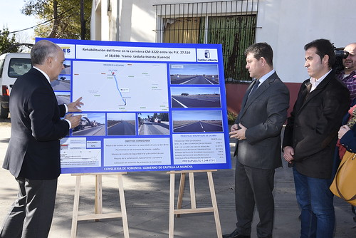 Inauguración de las mejoras en la CM-3222 entre Iniesta y Ledaña