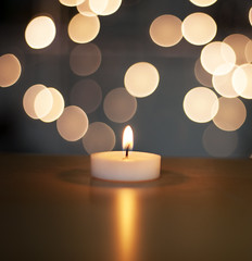 Christmas Candle, larger (Martyn.Hayes) Tags: christmas stilllife bokeh softfocus closeup decoration xmas seasonal festive joy happy tree snow christmaslights fairylights candle teelight flame blue cold