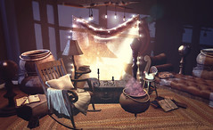 The Witching Hour (Neva Valon) Tags: raindale floorplan 9f8 furniture decor interiour home garden hg cauldron candle rockingchair books magic halloween witch sl secondlife blog blogger