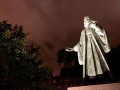 Midnight in the Garden of Good & Evil: Savannah (Lynn Friedman) Tags: johnwesley founder methodism religion statue night outdoors 31401